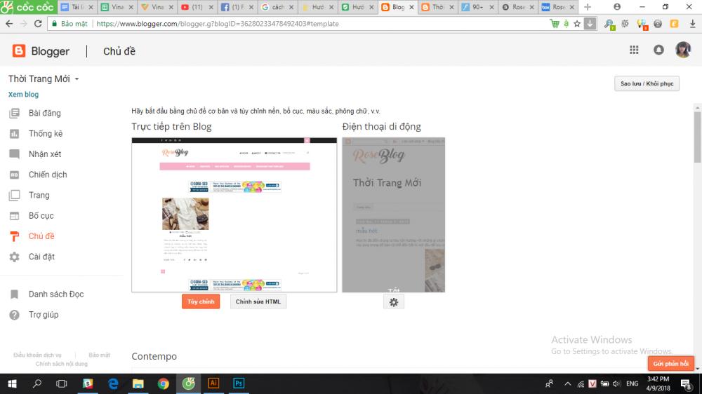 Cách Cài Theme Cho Blogspot