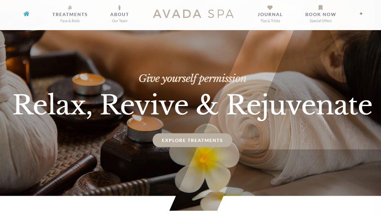 Mẫu website đẹp nhất thế giới về Spa - Avada