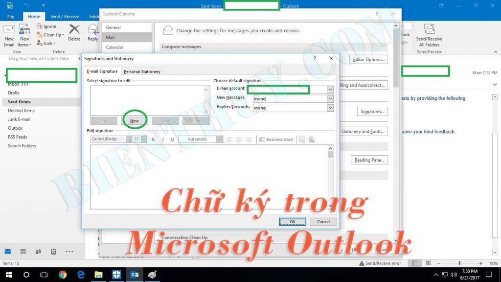 Cách tạo và thêm chữ ký trong Microsoft Outlook 2010 đến 2016