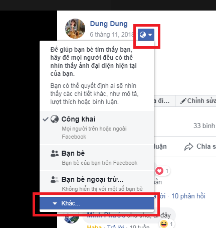 huong dan tat binh luan like tren anh dai dien facebook