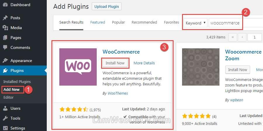 Cài plugin Woocommerce để tạo website bán hàng