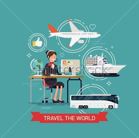 Stock Vector Travel The World Vector Concept Layout With Travel Agency Female Character And Tourism Transport 391232062 Min 1