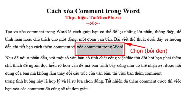 cach xoa comment trong word 2
