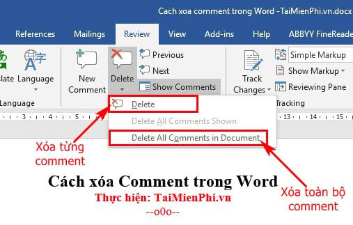 cach xoa comment trong word 13