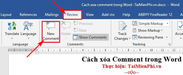 cach xoa comment trong word 6