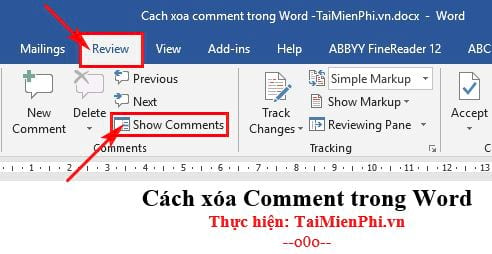 cach xoa comment trong word 7