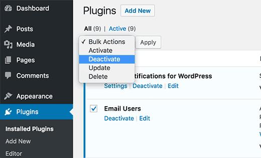 Tắt tất cả các Plugins đã cài đặt trên Websiten của bạn