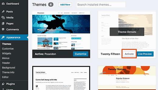 Chuyển sang Default WordPress Theme