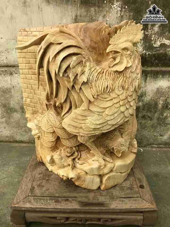 Tượng Gà Trống gỗ Nu Nghiến